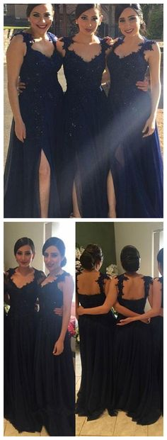 Navy Blue Bridesmaid Dresses Long Bridesmaid Dresses Bridesmaid Dresses,Bridesmaid Dresses Sexy Different Styles  - Thumbnail 1