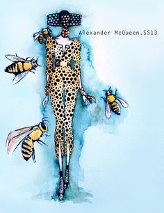 Sarah Burton poured on the honey for her Alexander McQueen collection. Sarah Burton, Fashion Design Sketchbook, Fashion Sketches, Moda Animal, Beauty And The Bees, Bee Sketch, Love Fashion, Fashion Art, Alexander Mcqueen