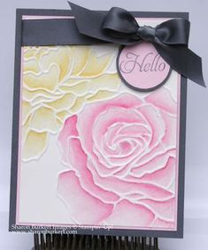"Stamps:  Elementary Elegance SAB set  Ink:  Basic Gray, Regal Rose and Daffodil Delight Stampin' Write markers  Paper: Watercolor paper, Pink Pirouette, Basic Gray, Whisper White  Big Shot: Manhattan Flower TIEF  Punches: 1- 3/8"" and 1- 1/4""  circle punches  Extras: Basic Gray Satin ribbon, Blender pen"