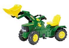 RollyToys Pedaltraktor John Deere med frontskovl. RollyToys John Deere 6210R pedaltraktor, er til de lidt større børn. Pedaltraktoren har påmonteret frontskovl, som fx kan bruges til at flytte sand til sandkassen. Pedal traktoren har luftgummihjul, anhængertræk og under motorhjelmen, som kan åbnes, er der et praktisk opbevaringsrum. Endvidere har traktoren justerbart sæde, så den kan tilpasses børn i en bred aldersgruppe.
