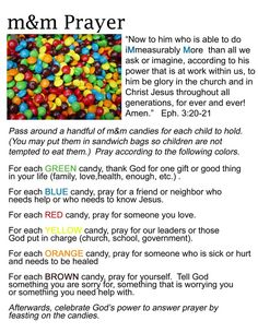 M & M prayer activity, this is a really cool way to teach children how to pray!