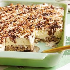 Grandma & Katie's Frozen Dessert   Refreshing during the summer,, or any time of year,, this tasty treat can be made ahead of time..