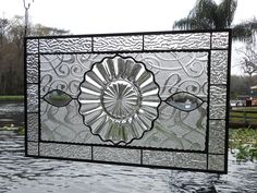 Vintage Window Treatment Stained Glass Panel with Heisey Crystolite Plate   eBay