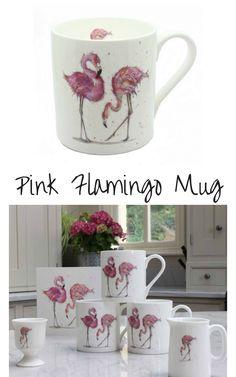 Pink flamingo mug - fine bone china, made in England - hand decorated #ad #flamingo #mug #giftideas