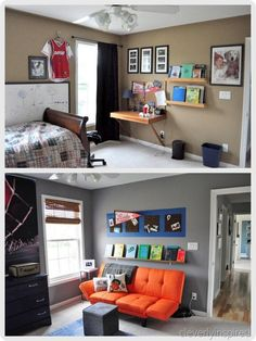 paint a rectangle on the wall then use cork board tiles, love gray walls, futon handy for overnighters or reading