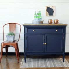 Coastal Blue Cabinet Stunning makeover with General Finishes Coastal Blue Milk Paint by Finn & Bo! Decor, Furniture, Coastal Blue, Redo Furniture, Blue Cabinets, Refinishing Furniture, Home Decor, Navy Painted Furniture, Furniture Inspiration