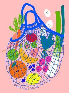 Inclusive Groceries I, an art print by Subin Yang - INPRNT Contemporary art Art And Illustration, Illustration Design Graphique, Illustrations And Posters, Friends Illustration, Vegetable Illustration, Arte Sketchbook, Kunst Poster, Grafik Design, Art Inspo