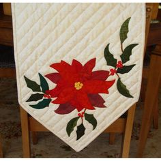 Christmas Holiday Poinsettia and Holly Table Runner Hand Applique | QuiltTops - Quilts on ArtFire