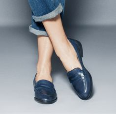 Mona (navy leather) by ShoeMint I love Loafers Blue Loafers, Penny Loafers, Leather Loafers, Oxfords, Cute Shoes, Me Too Shoes, Look Fashion, Fashion Shoes, Mint Shoes
