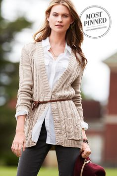 Super slouchy and totally textured, this cardi has carefree style all wrapped up. | Slouchy Cable Cardi Sweater
