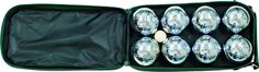 Classic Game Collection 8 Ball 73mm Bocce/Boules Set with Canvas Storage Case. Canvas carrying case with handle. Eight polished metal 73mm balls in four different striping patterns. Includes wood target ball and distance marker. Play on dirt or grass. Compact and easy to take with you.