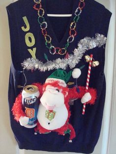 MENS TACKY UGLY CHRISTMAS SWEATER beer PIMP MONKEY cat calls whistle LIGHTS SZ L #Clairborne #Vest