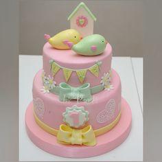 Bird cake. Pink cake. 1stbirthdaycake. First birthday cake.