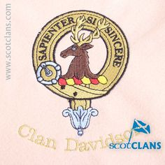 Clan Davidson Custom Embroidery @ScotClans. Free worldwide shipping available