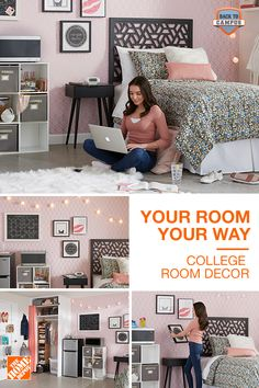 Your Room, Your Way Style your room, your way with decor from The Home Depot. Whether studying or lo College Room Decor, College Dorm Rooms, Small Space Living, Small Spaces, Paint Colors For Living Room, Room Paint, Condo Living, New Room, Home Decor Bedroom