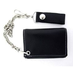 Men's Biker Black Soft Leather with White Stitch Chain Wallet Trifold Billfold