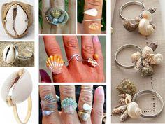 anillos con conchas de mar