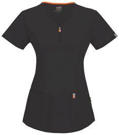 Code Happy V-Neck Top (Regular) in Black from Cherokee Scrubs at Cherokee 4 Less Cherokee Uniforms, Cherokee Scrubs, Grey's Anatomy, Medical Scrubs, Nurse Scrubs, Medical Uniforms, Apron Designs, Princess Seam, V Neck Tops