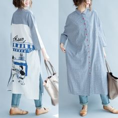Sky blue plaid patchwork maxi dress oversize long shirts back print linen dressesThis dress is made of cotton linen fabric, soft and breathy, suitable for summer, so loose dresses to make you comfortable all the time.Measurement: One Size: length 115cm / 44.85
