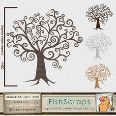 Tree Clip Art  Whimsical Swirl  DIY Family Tree  - Create DIY Guestbook for weddings, Family Reunions, Baby Showers, Wedding Showers and more.  Print yourself and use fingerprints, paper leaf cut outs, small frames and more.   Be Creative!!!!