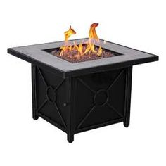 Afterglow Colton in. Steel Fire Pit in Textured Black Finish, Light Gray Cement Color Top w. Propane Fire Pit Table, Gas Fire Table, Wood Burning Fires, Gas Fires, Natural Gas Fire Pit, Steel Fire Pit, Fire Pits, Smooth Concrete, Cement Color