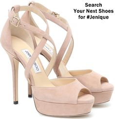 A pair of platform sandals is essential come summer, and we count the Jenique pair from Jimmy Choo among the best. Worked from soft suede in the palest pink, they're shaped with crossover ankle traps and slight peep toes. Their skyscraper 125mm stiletto heels ensure you'll be a step above the crowd. Cute Shoes, Women's Shoes, Shoe Boots, Barbie Shop, Next Shoes, Gorgeous Heels, Hot Heels, Jimmy Choo Shoes, Fashion Heels