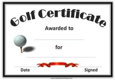 Golf award   certificates   Pinterest   Golf, Certificate and Free ...