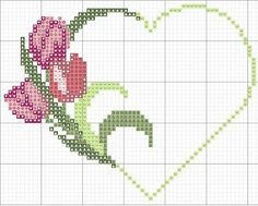 free cross-stitch heart with tulips chart . no color chart available, just use free cross-stitch heart with tulips chart . Cross Stitch Heart, Cross Stitch Borders, Cross Stitch Flowers, Cross Stitch Designs, Cross Stitching, Cross Stitch Embroidery, Hand Embroidery, Cross Stitch Patterns, Heart Patterns
