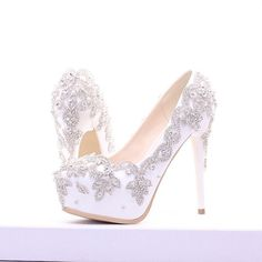 Women\'s Wedding and Party Rhinestone Crystal Platform High Heels material is rhinestone,rubber. the rhinestone is handmade on the upper, sole material use rubb