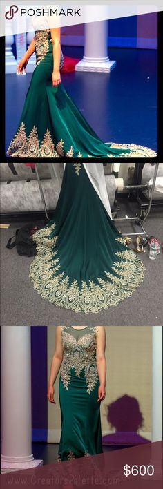 "Beautiful Green & Gold Pageant Dress w/ 3 ft Train Worn for pageant. No brand/bought at garment district Los Angeles, CA. I am 5'8"" in this picture with 2.5"" heels on. Three foot train. Altered in bust (let out to fit 36DD). I was 145lbs at the time. Gorgeous dress. I can provide measurements if requested. Feel free to make an offer :) not Sherri Hill, listed for exposure. Sherri Hill Dresses"