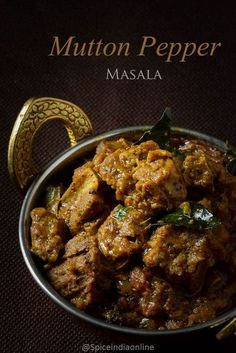 Mutton Pepper Masala -Ever since i tried varutha kari at karaikudi chain restaurants, i want to replicate the same at home too. Tender mutton cooked in spicy pepper gravy simmered to . Goat Recipes, Veg Recipes, Spicy Recipes, Curry Recipes, Indian Food Recipes, Asian Recipes, Vegetarian Recipes, Chicken Recipes, Cooking Recipes