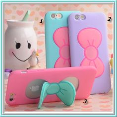 iPhone 6 Plus, 6, 5/5S, 4/4S - Pretty Pastel Butterfly Bow Stand Case in Assorted Colors