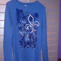 Blue Thermal Top Size Large Tops Tees - Long Sleeve