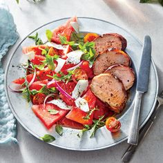 A sweet-and-savory peach glaze caramelizes on the pork as it cooks to perfection in a grill pan. We tent the pork loosely with foil durin...
