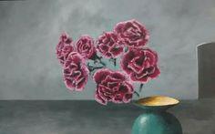 Work in progress: Flying carnations 01.2017, Acrylic on canvas, 50*70cm #art #artblog #artblogger #artistatwork #artiststudio #contemporarypainting #gallerywall #painting #acrylicpainting #horizon #red #flying #carnations #turquoise #red #grey #vase #door