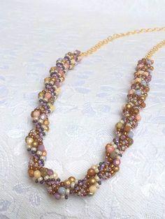Pale blue purple brown cream seashell by OdesiaMayJewellery
