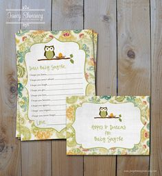 Owl Baby Shower Invitation, Gender Neutral Shabby Chic  Printable  Invitation File. $15.00, via Etsy.