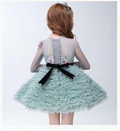 Girly Shop's Green Embroidery Flower Applique Long Sleeve Sheer Neckline Flower Girl Dress