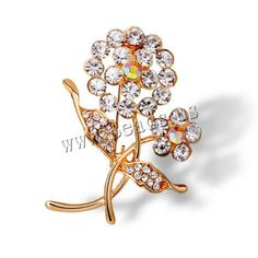 Rhinestone Brooch, Zinc Alloy, Flower, gold color plated, with rhinestone, nickel, lead & cadmium free, 45x35mm,china wholesale jewelry beads