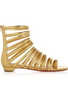 #ChristianLouboutin Catchetta metallic leather #sandals
