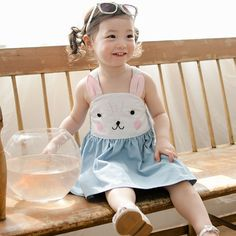 New! 2016 summer baby clothes children's clothing shoulder cute rubbit bebe dress Bunny cute overalls kid's baby dress
