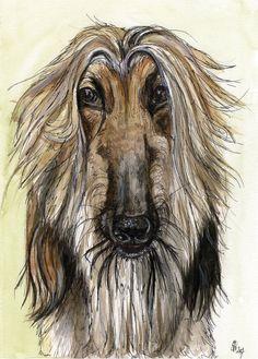 A Little Impartial - GREETING CARD Afghan Hound Art Print. Elle Wilson