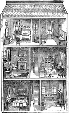 """Doll house clip art. Image from Paul Bercy's """"Simples Notions de Francais"""" (New York, NY: William R. Jenkins, 1894), courtesy the private collection of Roy Winkelman."""