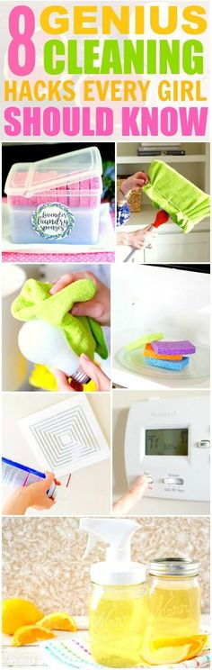 These 8 Genius Cleaning Hacks and Tips are THE BEST! I'm so glad I found these AMAZING ideas! Now my home will be super neat and clean with these tips and tricks! Definitely pinning!