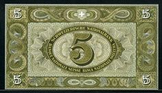 Swiss banknotes 5 Swiss francs note,