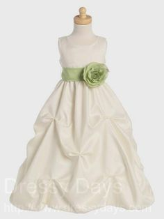 Ivory Shantung Junior Bridesmaid Gown with Detachable Sash : LJB0033