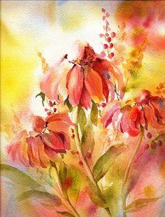 Reproduction d'aquarelle marguerites - impression jet d'encre Fine Art - de la peinture aquarelle par ConnieTownsArt - feutré to11x14