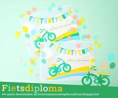 Fietsdiploma - gratis downloaden bij Broterhammen met Gele Confituur #lerenfietsen #fietsen #diploma #fietsdiploma #broterhammenmetgeleconfituur  http://broterhammenmetgeleconfituur.blogspot.be/2016/04/om-te-printen-fietsdiploma.html