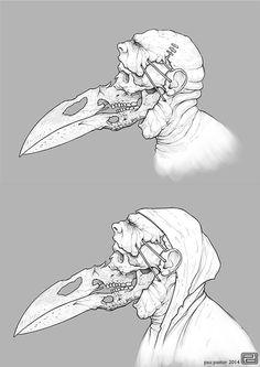 Human bird person skull (???)