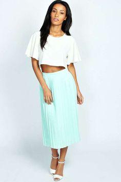 Casey Pleated Woven Midi Skirt
